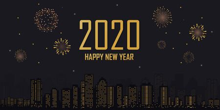 Happy new year 2020 city background with fireworks in the night. Vector 向量圖像
