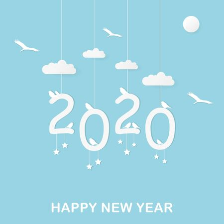 Illustration of hanging 2020 happy new year portrait design with, sun, cloud, seated and flying birds in the sky concept. Paper art style. Vector