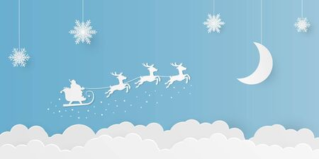 Paper art illustration with snowflakes decoration, half-moon, and flying santa claus in the sky.