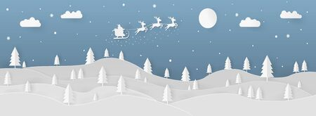 Landscape flying santa claus paper art style illustration with the moon, clouds, and trees.