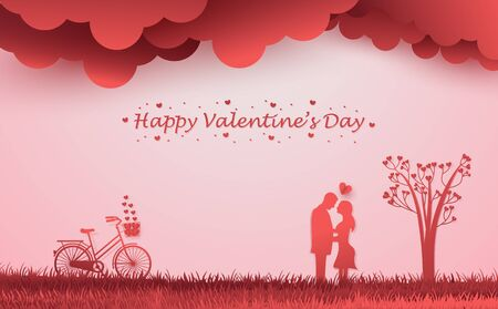 Happy Valentine's Day couple kissing illustration design in soft pink and red background, with bicycle, clouds, and love tree. Paper art style. Illusztráció