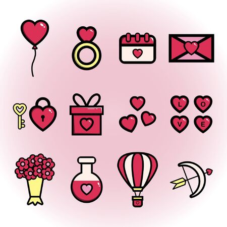 Set of cute valentines icon for valentines day