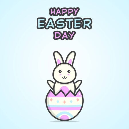 Happy easter day illustration with cute bunny character inside of a cracked egg on soft blue background. Vector