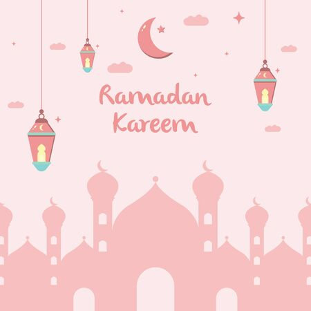 Ramadan Kareem flat illustration vector design with mosque, lanterns, moon, and cloud in pink color concept. Can be used for poster, banner, greeting card, invitation card, background, wallpaper.