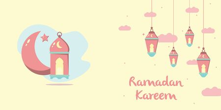 Landscape Ramadan Kareem flat illustration vector design with lanterns, moon, and cloud. Can be used for poster, banner, greeting card, invitation card, background, wallpaper. Vecteurs