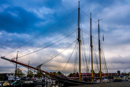 A three master tall sail ship in the harbour Reklamní fotografie