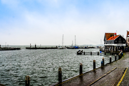 volendam: Safe harbor in stormy weather at Volendam, the Netherlands