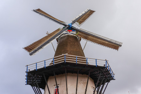 Fully Restored Operating Windmill in Holland Archivio Fotografico