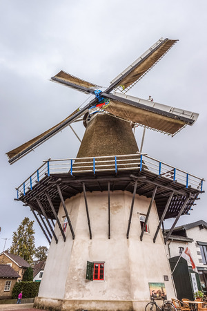 Fully Functioning Windmill in the Village of Ermelo in Holland Фото со стока