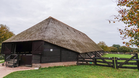 sheep barn: Sheep Farm with Traditional Thatched Roof Barn