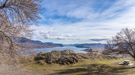 Kamloops Lake along Highway 1 in British Columbia Stock Photo