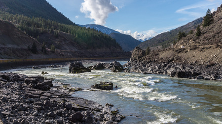 lifejacket: Kayaking in the Rapids of the Fraser Canyon Stock Photo