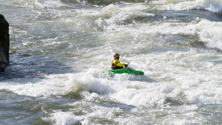 fraser: Kayaking Rapids in the Fraser Canyon Stock Photo