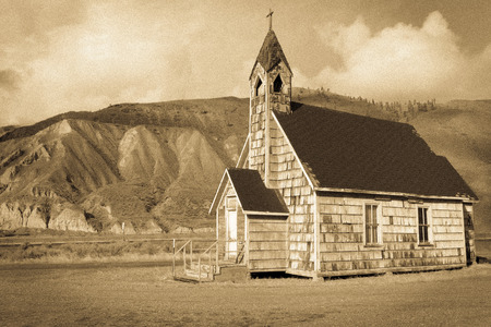 fraser: Old Country Church in Spences Bridge in the Fraser Canyon BW