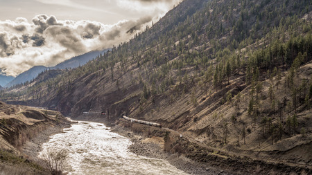 fraser river: Railroads Winding through the Fraser Canyon in British Columbia Stock Photo