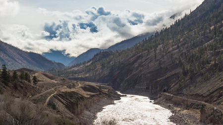 canadian pacific: The Fraser River Winding through the Canyon
