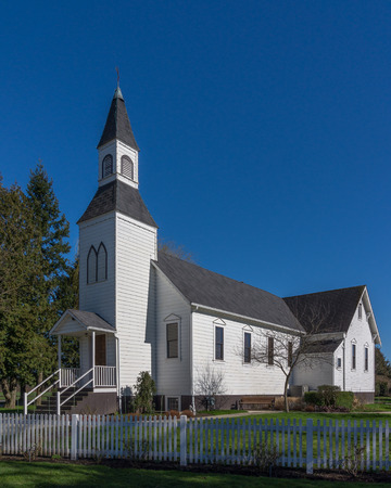 Milner Chapel in Langley British Columbia behind a Picket Fence photo