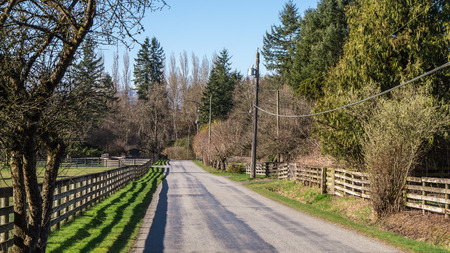 backroad: Quiet Rural Street in the Fraser Valley of British Columbia Stock Photo