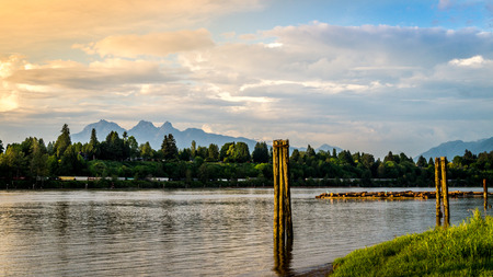 Sunset over the Fraser River near Fort Langley with the Golden Ears mountain in the background