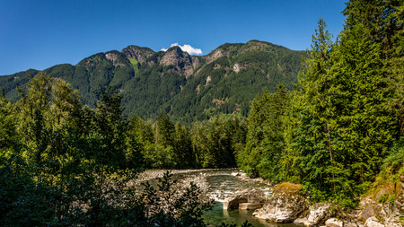 The Coquihalla River as it enters the canyon near the village of Hope in the Eastern Fraser Valley of British Columbia