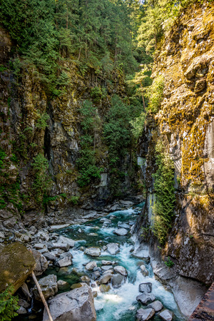 The Coquihalla River as it winds its way through the canyon at the Othello Tunnels park Stock Photo