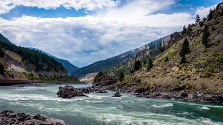 fraser river: The Fraser River as it Flows through the Fraser Canyon in British Columbia Canada Stock Photo