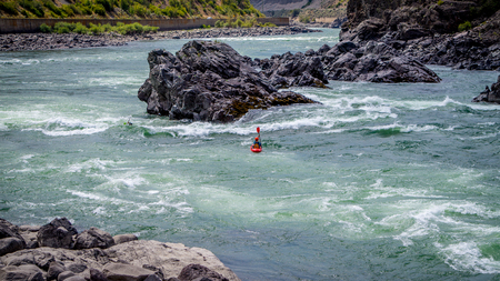 fraser: Kayaking in the White Water rapids of the Fraser River in the Fraser Canyon in British Columbia Stock Photo