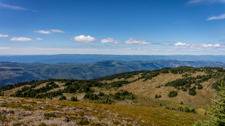 Blick von der Spitze der Tod Mountain in den Sushwap Hochland von Zentrum von British Columbia, Kanada. Der Gipfel bei knapp über 7000 Meter Höhe kann durch mittelschwere Wanderwegen erreichbar