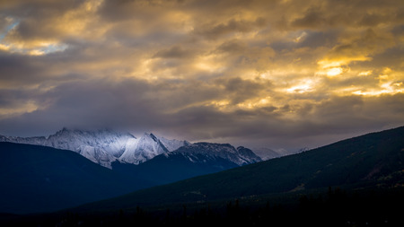 jasper: Sunset over Majestic Mountain in Jasper National Park in the Canadian Rocky Mountains