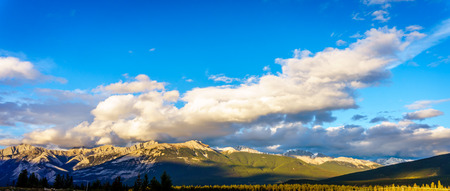 rocky mountains: Sunrise over the Rocky Mountains in Jasper National Park Stock Photo