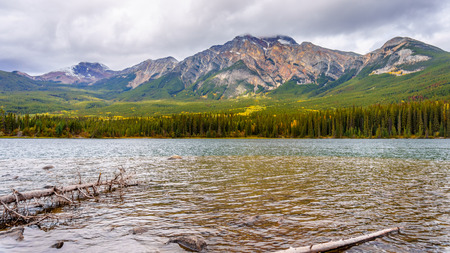 jasper: Pyramid Lake with Pyramid Mountain in the background in Jasper National Park in Canada