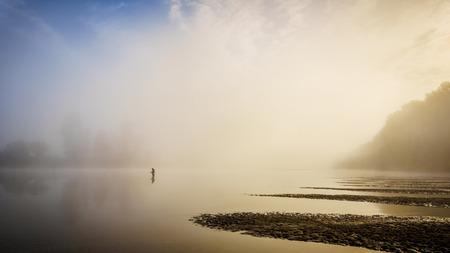 fraser river: Salmon fishing at Poplar Bar in Glen Valley in the Fraser Valley on a foggy October morning