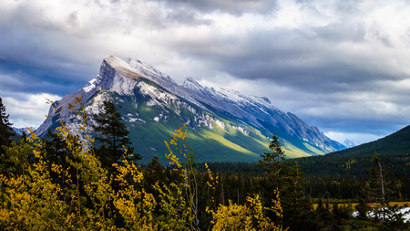 canmore: Mount Rundle at Banff National Park in the Canadian Rockies near the town of Canmore