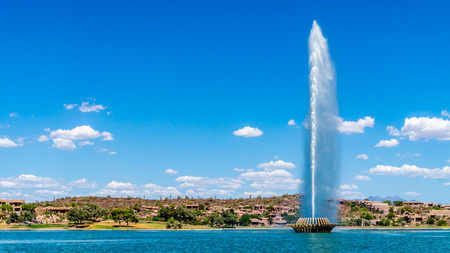Highest Fountain in the US at Fountain Hills spewing to a height of 562 feet Фото со стока