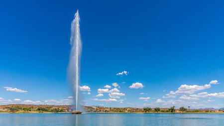 hill: Highest Fountain in the US at Fountain Hills spewing to a height of 562 feet Stock Photo