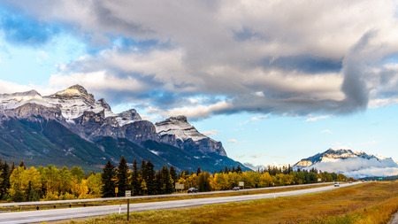 canmore: Mount Rundle along the Trans Canada Highway at Canmore near Banff National Park in the Rocky Mountains in Alberta, Canada