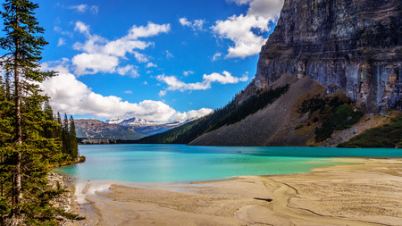 banff national park: Glacier Water flowing into Lake Louise in Banff National Park in the Rocky Mountains in Canada
