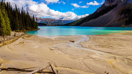 louise: Glacier Water flowing into Lake Louise in Banff National Park in the Rocky Mountains in Canada