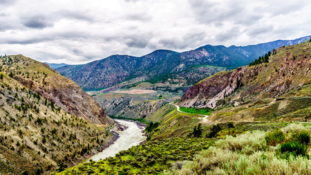 fraser: Highway 99 and the Rail Road follow the Fraser River toward the Town of Lillooet in British Columbia, Canada