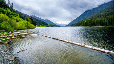 Duffy Lake and surrounding mountains along HIghway 99 in the Coastal Mountains of British Columbia, Canada