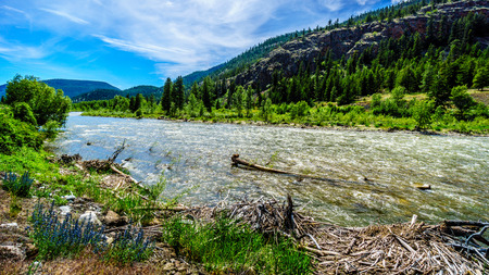 The fast flowing Nicola River as it flows from the town of Merritt to the Fraser River at Spences Bridge in British Columbia, Canada