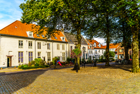 Typical Street Scene in a Dutch Village like this one in theHistoric Town of Harderwijk in the Netherlands