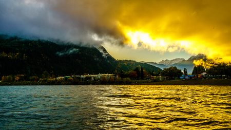 Early Morning Sunrise over the town of Harrison Hot Springs in the Fraser Valley of British Columbia, Canada