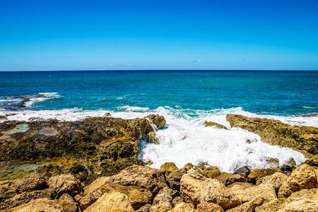 The rocky shores along the resort community of Ko Olina on the West Coast of the Hawaiian island of Oahu
