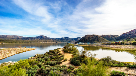 sates: The marina area of Lake Bartlett in Tonto National Forest in Arizona, United Sates of America Stock Photo