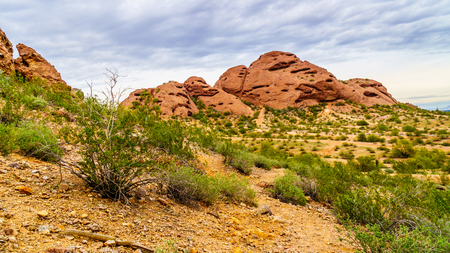sates: The red sandstone buttes of Papago Park, with its many caves and crevasses caused by erosion under cloudy sky, in the city of Tempe, Arizona in the United States of America