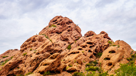 sates: Erosion of the Red Sandstone Buttes created interesting Rock Formations in Papago Park near Phoenix Arizona Stock Photo
