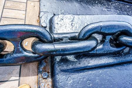 Freshly Painted heavy anchor chain of the mothballed battleship USS MIssouri Stock Photo - 82650896