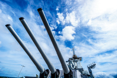 Cannon Tubes of the museum battleship USS MIssouri in Pearl Harbor, Hawaii