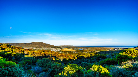 The Noordhoek and Kommetjie region in the Cape Town area viewed from the Ou Kaapse Weg, Old Cape Road, on a clear winter morning Stock Photo